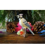 Porcelain Bisque Small Bluejay Blue Jay on Branch Figurine - $9.70