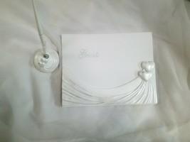 Guest Book and Pen Set Double Heart Design Wedding Guest book signatures - $21.76