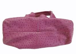 Furla Fuschia Pink Ostrich Embossed Leather Elisabeth Tote Shoulder Bag Purse image 5
