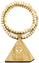 "Pharaoh Pyramid New Good Wood Style Pendant With 36"" Beaded Necklace Kin... - $13.94"