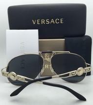 New VERSACE Sunglasses VE 2176 1252/87 59-18 Gold & Black Round Frame w/ Gray