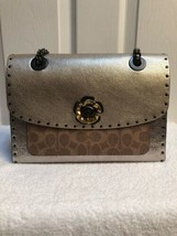 Coach  Parker Signature Canvas with Rivets  Snakeskin Detail Tan Platinu... - $285.00