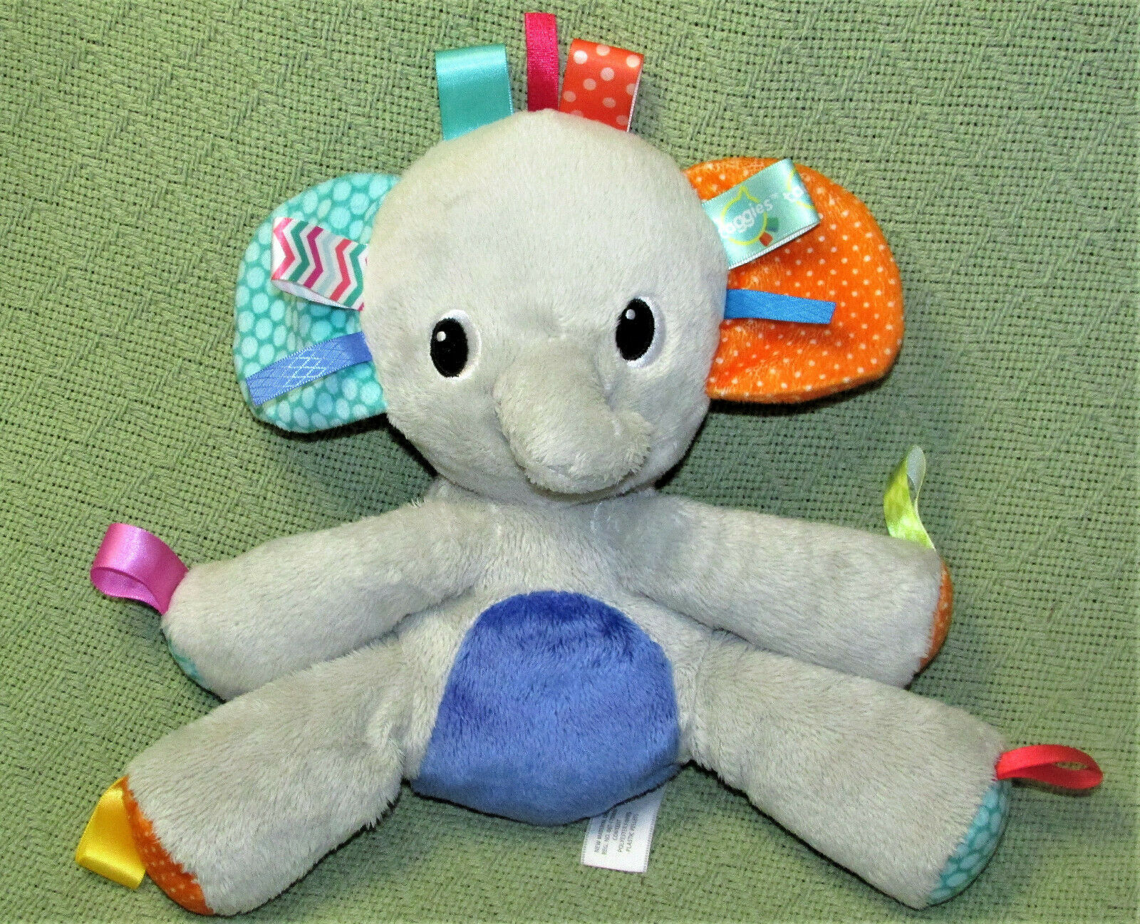 "Primary image for 9"" TAGGIES BRIGHT STARTS GREY ELEPHANT RATTLE PLUSH BABY STUFFED ANIMAL KIDS II"