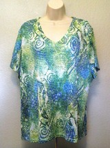 JM Collection Blouse 2X Blue Green Textured Short Sleeves 100% Polyester - $15.44