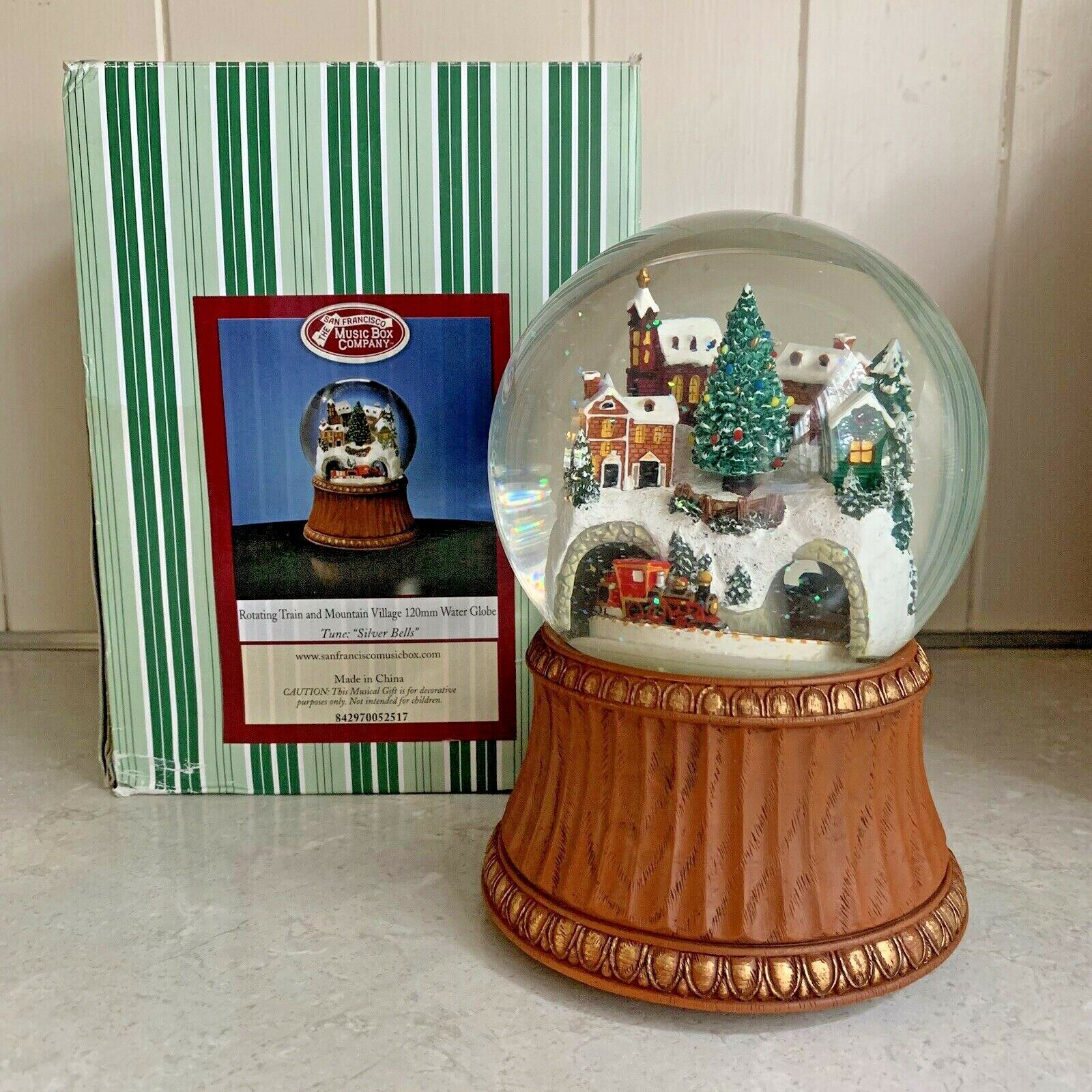 Primary image for The San Francisco Music Box Company Train and Mountain Village Silver Snowglobe