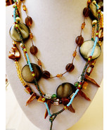 Lot of  4 Glass Genuine Shell Bead Fashion necklaces - $25.34