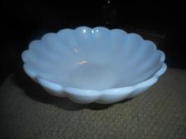 "Hazel Atlas Milk Glass Alpine White Colonial Swirl Berry Dessert Bowl 4 3/4"" - $9.89"