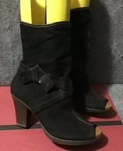 Anthropologie Naya Black Artemis Peep Toe Mid Calf Booties Size 10M - $34.65