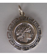 Apollo Silver Coin Pendant with Meander Design - Olympian God - Ancient - $37.90