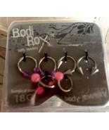 New Sealed Bodi Rox Three Sets Of Body Jewelry Gauge Pink Purple 18g - $18.99