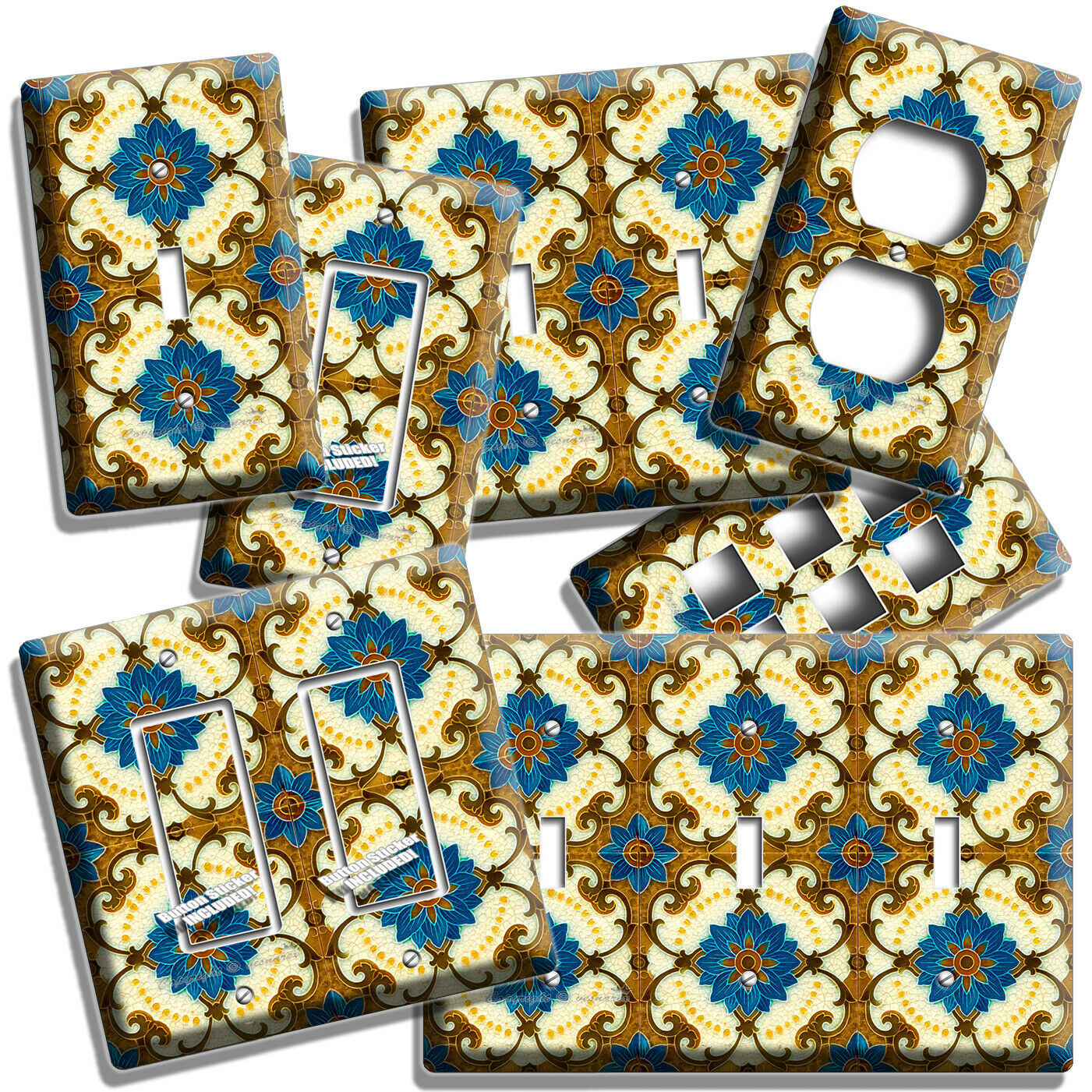 VICTORIAN MAJOLICA TILES LOOK LIGHT SWITCH OUTLET PLATES KITCHEN BATHROOM DECOR