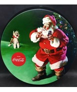 Excellent Coca Cola Bottle Cap Decor Round Metal Wall Hanging Santa With... - $10.00