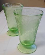 Hazel Atlas Depression Glass Florentine # 2 Poppy Round, 2 Footed Water Tumblers - $29.99