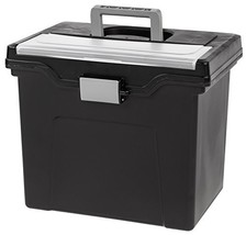 IRIS Letter Size Portable File Box with Organizer Lid, 4 Pack, Black - $36.39