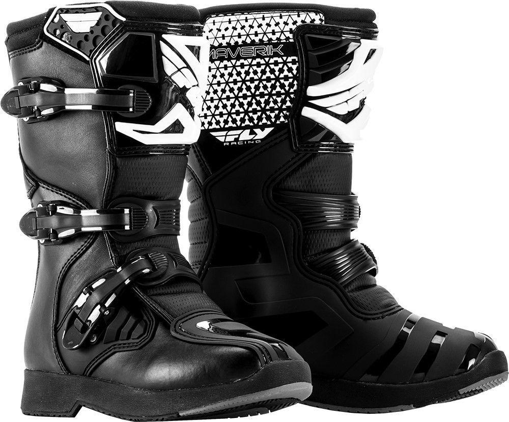 New 2018 Youth Size Y13 Fly Racing Maverik Black Motocross MX ATV Boots