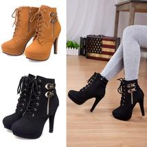 Women's Fashion High Heel Winter Ankle Boots Platform Stiletto Heels Lace Up Sho