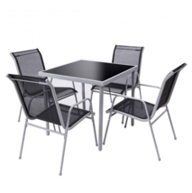Outdoor Bistro Set 5 Pieces Patio Chairs Table Garden Furniture Backyard... - $148.40