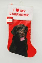 I LOVE MY LABRADOR Chocolate Red Christmas Stocking Faux Fur Embroidery NWT - $12.95