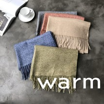 Autumn Winter Tassel Sofa Cashmere Scarf Green Blue Beige Pink Long Thic... - $18.70
