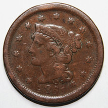 1851 Large Cent Liberty Braided Hair Head Coin Lot # A 1599