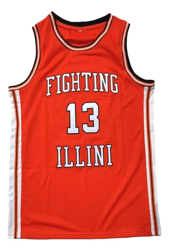 Kendall Gill Fighting Illinois College Basketball Jersey Sewn Orange Any Size
