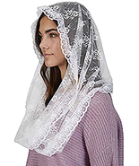 WHITE LACE CHAPEL LENGTH INFINITY VEIL - $36.31