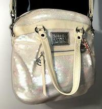 Coach Poppy ~ Pearl Opal Sequins Large Highlight Bag Tote ~ Patent Leather Trim image 6