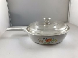 """Vtg Wildflower Corning/CORELLE Ware Skillet w/Lid P-83-B 6.5"""" With Lid - $12.16"""