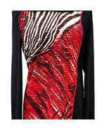 Long Sleeve Abstract Jacquard Print Cowl Collar Red Wine/Black Top by Pi... - $48.90