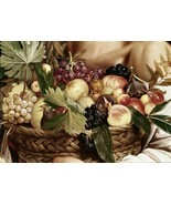 Boy with a Basket of Fruit-Caravaggio Grapes Apples Peaches Food Kitchen... - $222.75
