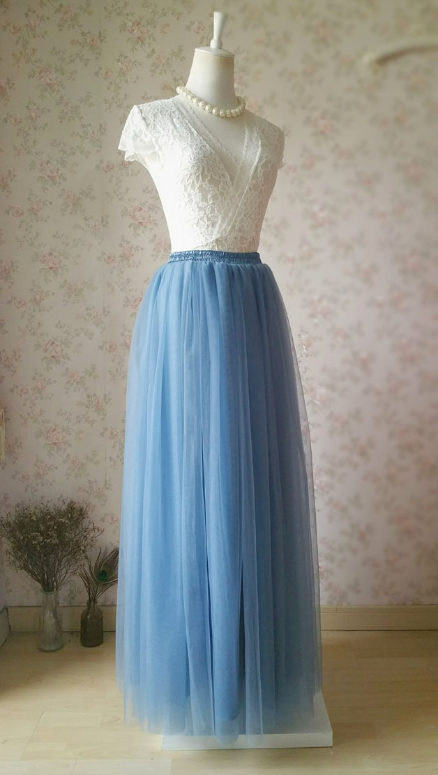 DUSTY BLUE Maxi Bridesmaid Tulle Skirt High Waist Full Length Blue Wedding Skirt