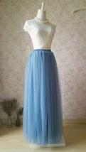 DUSTY BLUE Tulle Maxi Skirt High Waist Bridesmaid Tulle Skirt Blue Wedding Skirt image 14