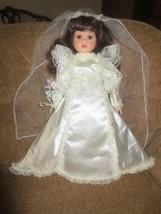 Seymour Mann FREDERIKA  Porcelain BRIDE DOLL in WEDDING DRESS with Flowers - $9.90