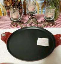 "Princess House Mi Cocina Cast Iron 13"" Comal W/ Red Enamel - $117.81"