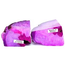 Pink Color Baked Dyed Polished Agate Stone Rock Bookends Made in Brazil image 7