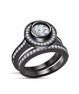 Womens Bridal Diamond Ring Set 14k Black Gold Finish 925 Sterling Solid ... - $98.99