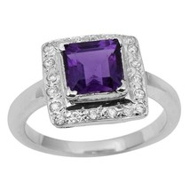 Square Cut Amethyst Gemstone 925 Sterling Silver Engagement Women Ring - $24.56