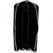Bijorca Faux Leather Black & Gold Sequin Zip Around Clutch Wallet image 3