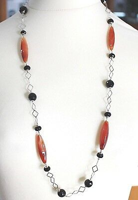 SILVER 925 NECKLACE, AGATE RED, ONYX BLACK, LONG 80 CM, CHAIN SQUARED