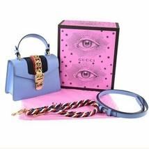 GUCCI Sylvie Hand Bag Light Blue Leather 2 way Shoulder 470270 - $2,313.63
