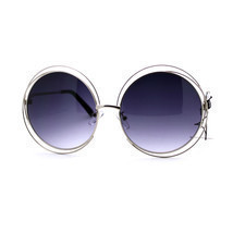 Womens Super Oversized Designer Sunglasses Round Circle Wire Metal Frame - £5.98 GBP+