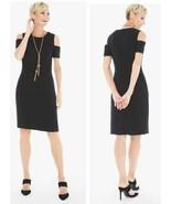 Chico's Cold Shoulder Lined Black Dress Sz 2.5 (L/14) EUC 1059 - $40.53