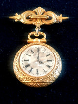 Vintage Signed ART Watch Clock Face Ornate Gold Tone Pin Brooch - $30.00