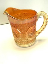 VINTAGE IMPERIAL MARIGOLD CARNIVAL GLASS PITCHER IN STAR MEDALLION PATTERN  - $41.58