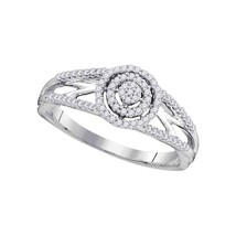 10kt White Gold Round Diamond Cluster Bridal Wedding Engagement Ring 1/5 Ctw - $266.59