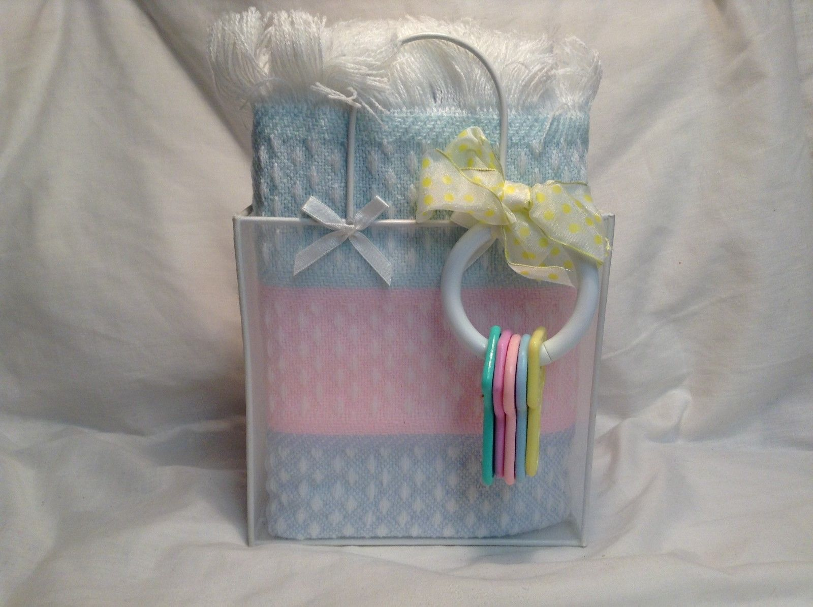 NEW Stephan Baby Blue/Pink Baby Blanket w Toy Keys