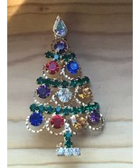 Estate Colorful Rhinestones in Open Goldtone Circles Christmas Tree Pin ... - $19.49