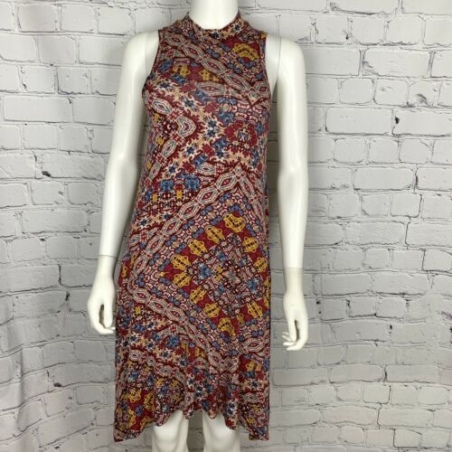 Anthropologie Maeve Women's Dress XS Maroon Geo Asymmetric Sleeveless