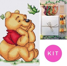 Winnie The Pooh - Simple, Easy, Beginner Counted Cross Stitch Design in KIT - $28.00