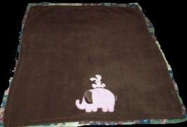 Brown Fleece With Pink Elephant & Bunny BLANKETS & BEYOND Baby Girl - $17.03 CAD